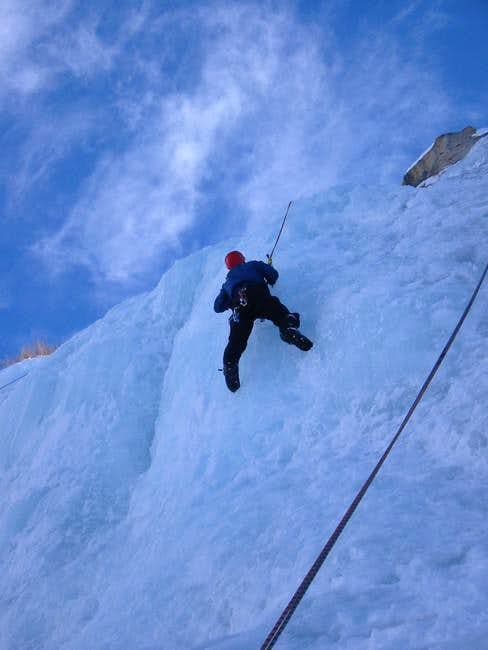 Mark Ingram climbing ice on...