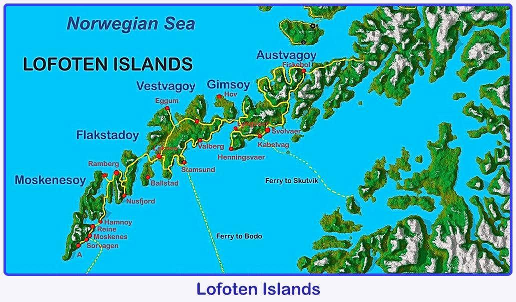 Lofoten Map Photos Diagrams Topos SummitPost - Norway map lofoten islands