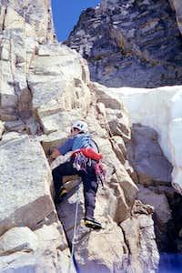 Climbing moderate fifth class...