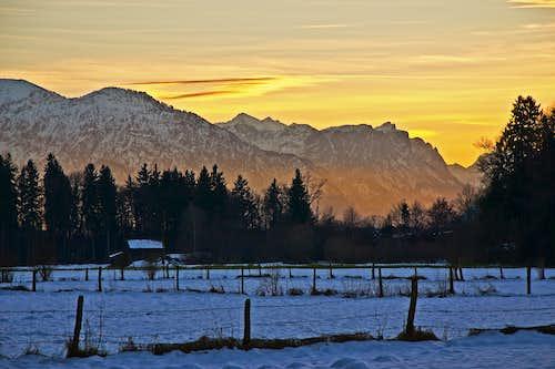 Sunset over Predigtstuhl and Reiteralpe