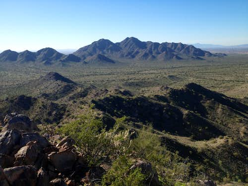 San Tan Mountain High Point as seen from Goldmine Saddle
