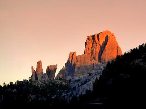 Cinque Torri near sundown