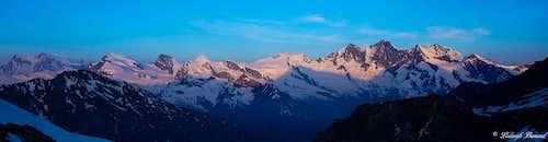 Mischabel (4545m / 14.911ft) Panorama at sunrise