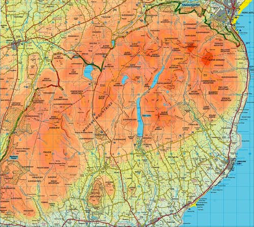 Mourne Mountains Topgraphical Map
