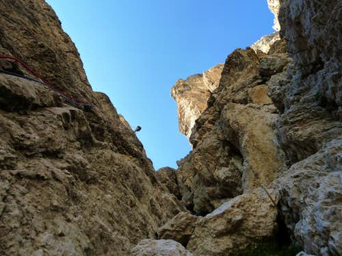 Abseiling from Punta Alpini