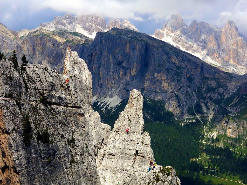 Climbers at Cinque Torri