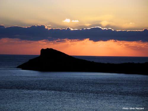 Fall sunset over Telendos South headland
