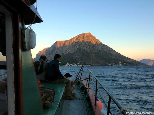 Approaching Telendos on the fishermen boat