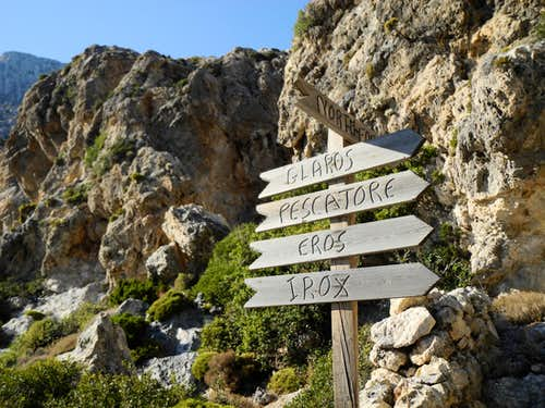 Telendos cliffs signpost