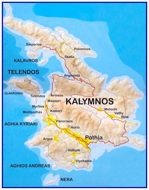 Kalymnos and Telendos map
