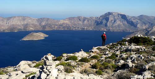 Kalavros and Kalymnos islands from the summit of Telendos