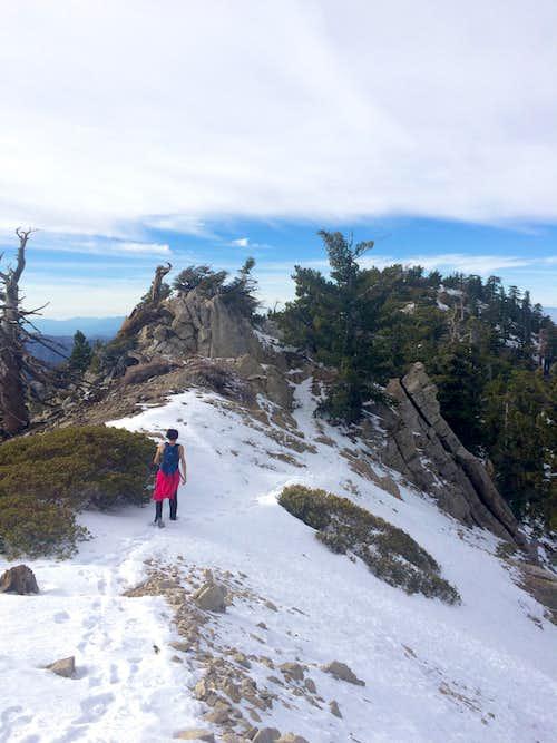 Walking the ridge towards the true summit
