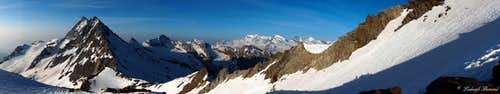 Portjengrat and Monte Rosa Panorama from the SE-ridge