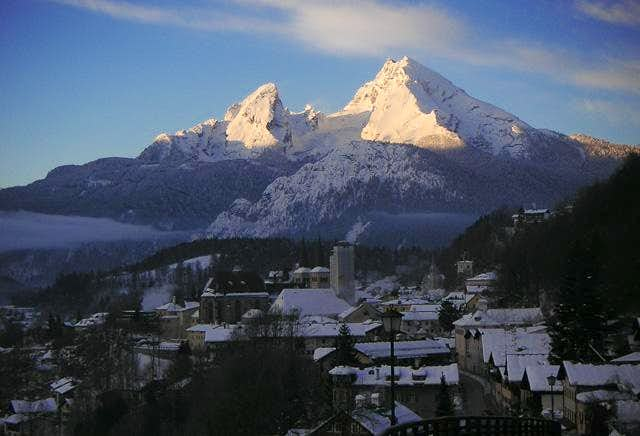 The first sunrays on Watzmann...