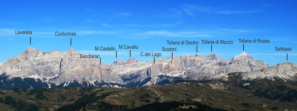 Eastern Dolomites from Sella Group labelled