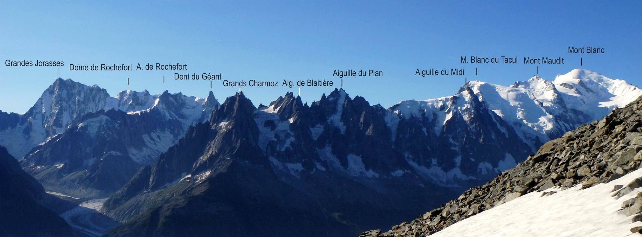 Mont Blanc Group from Aiguilles Rouges labelled