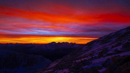 Sunset on Mt Whitney, the High Sierra