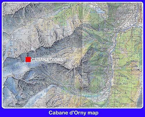 Cabane d'Orny map