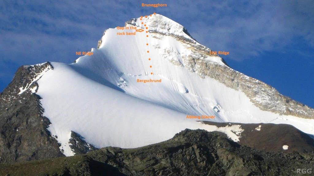 Brunegghorn North Face route sketch