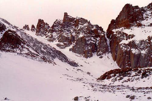 Snow chute below Trail Crest