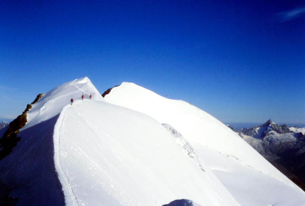 Climbers on Castore Normal route
