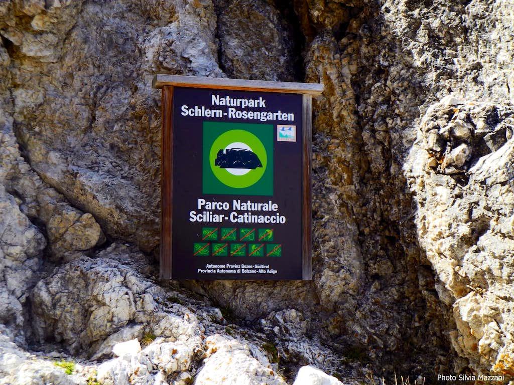 Sciliar-Catinaccio Natural Park signpost