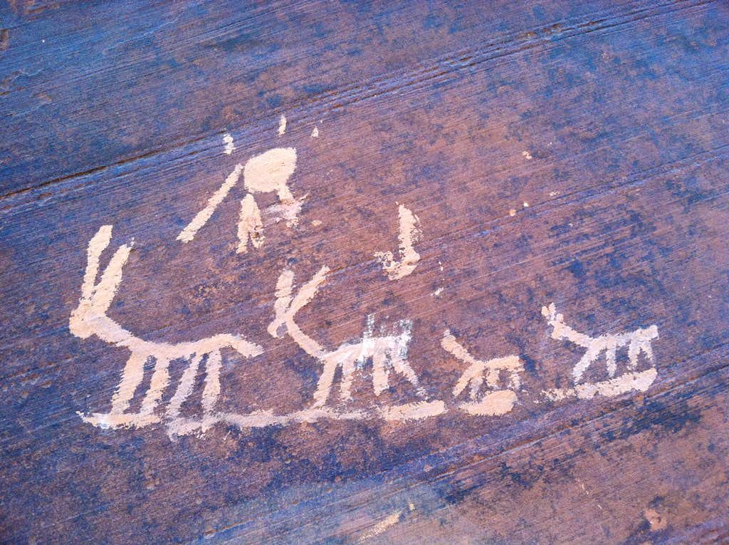 Fake Petroglyphs near Blue Gramma cliff, Indian Creek, Utah