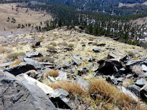View down the steep slope down the southeast ridge