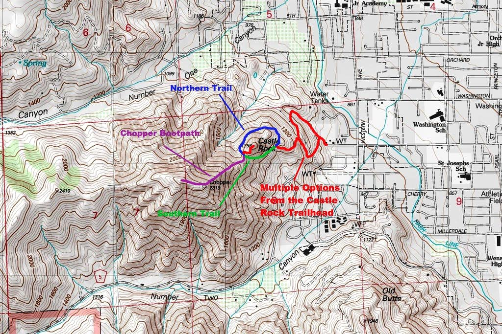 Map of the Route up Chopper Peak