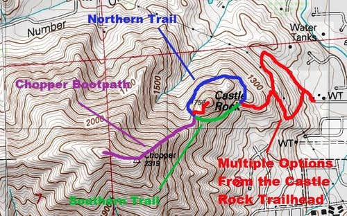 Map of the route up Castle Rock