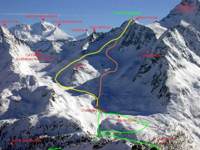 Rabuigne NW slope. GREEN lines: access to Epée Hut. YELLOW line: safer hike to the summit. ORANGE line: shortest, but dangerous.
