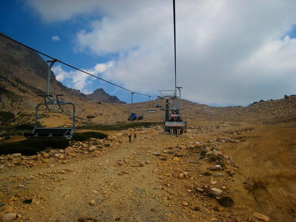 Riding the Cerro Catedral ski lift