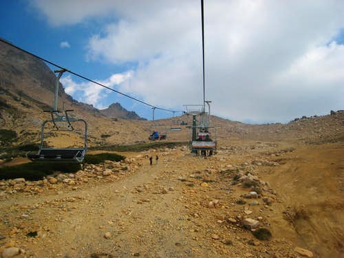 Riding the Cerro Catedral ski lift
