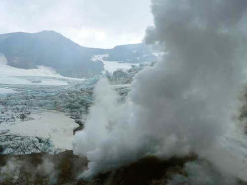 Ice and steam. Inside the...