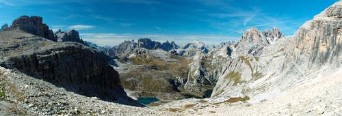 Looking out of Büllelejoch towards the northern Sexten Dolomites