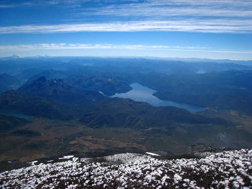 Lake Tromen from the summit of Lanin