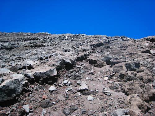 Scrambling on the last 300 meters of Lanin