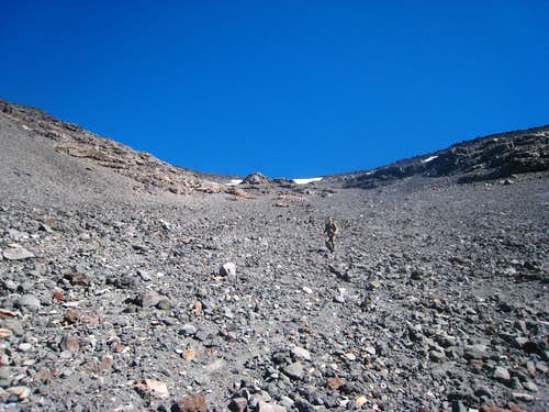 Descending the gully of no end on Lanin