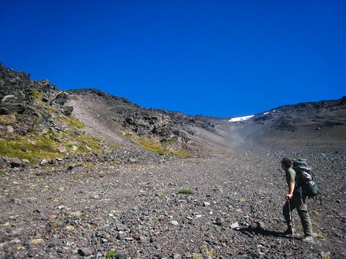 Looking up the long, loose gully on Lanin