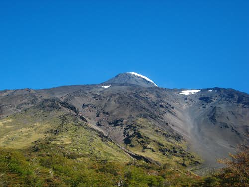 Lanin with the long gully to the right