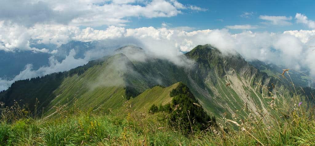Summit view Tälispitze: Kuhspitz, Hüttenkopf, Hochgerach