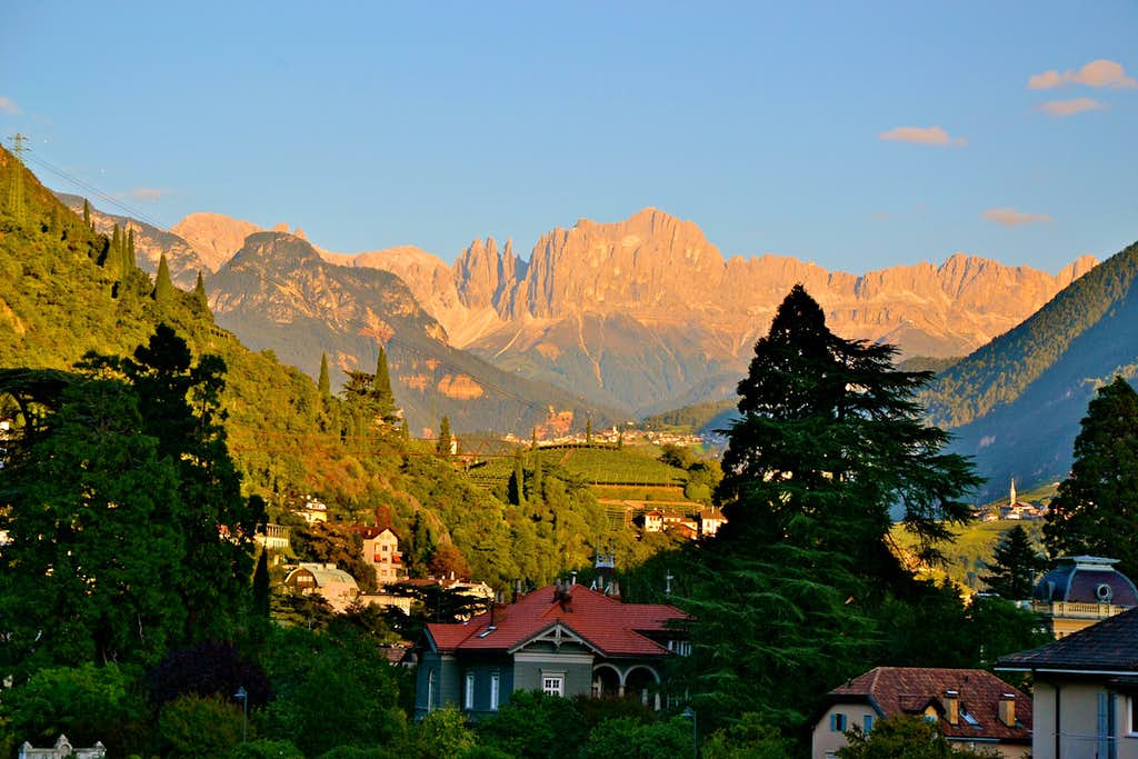 The Catinaccio (Rosengarten) group seen in the evening from Bolzano