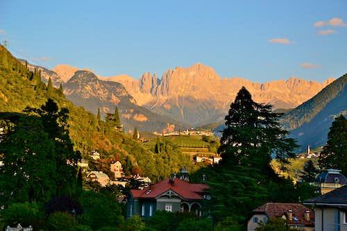 The Catinaccio (Rosengarten) group seen in the evening from Bolzano