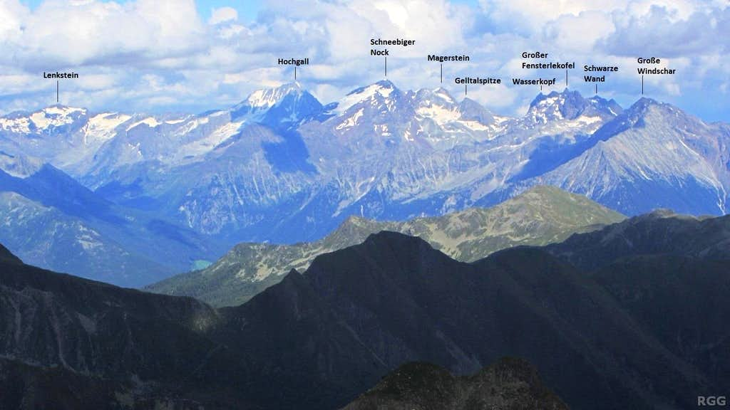 Labeled panorama of the Rieserferner Alps from the Napfspitz
