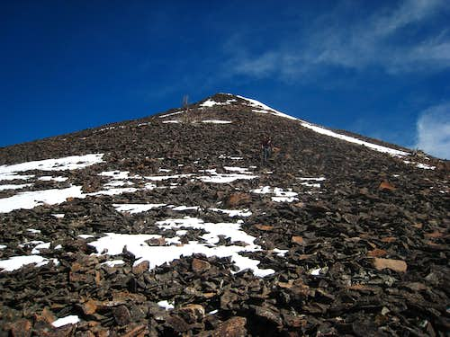 Looking up the talus from treeline at 7,900 feet