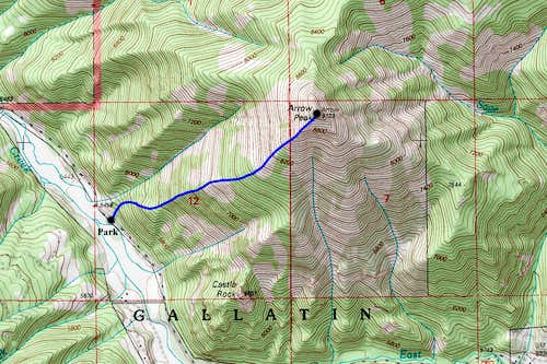 Arrow Peak Topo Map