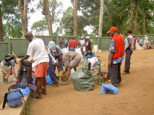 Guides and porters begin to...