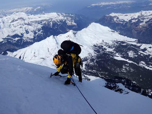 Heckmair route- Mittelegi ridge