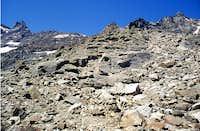 Along the unpleasant moraine  towards<br> Antoldi-Malvezzi fixed bivouac <i>2920m</i>
