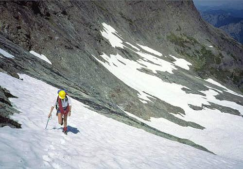 Hiking the middle snowfield....